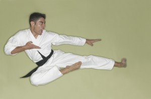 Karate Black Belt Leaping